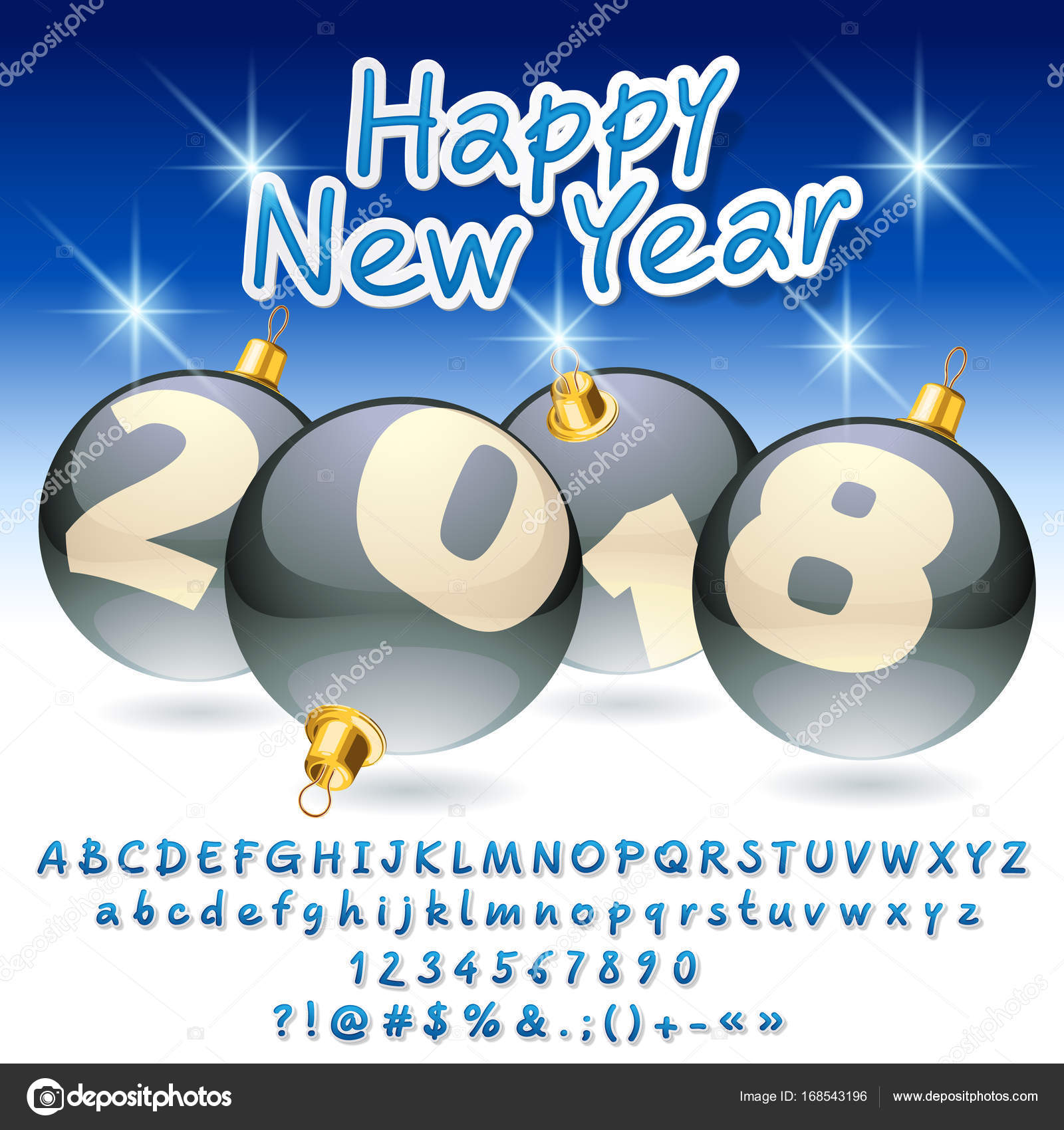 Vector greeting card Happy New Year 2018 with silver Christmas ...