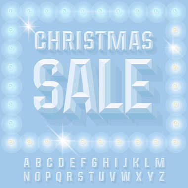 Blue vector winter poster Christmas sale with snowy lamps with Alphabet