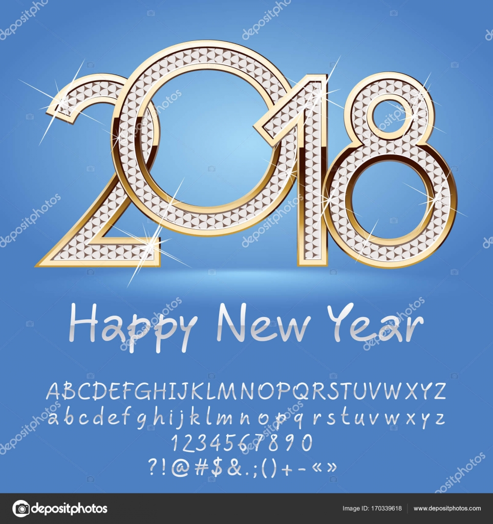 Vector White Happy New Year 2018 Greeting Card With Alphabet Set Of