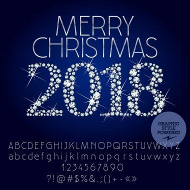 Vector sparkling Merry Christmas 2018 Greeting Card with set of Alphabet letters, symbols, numbers. Silver Font contains Graphic Style