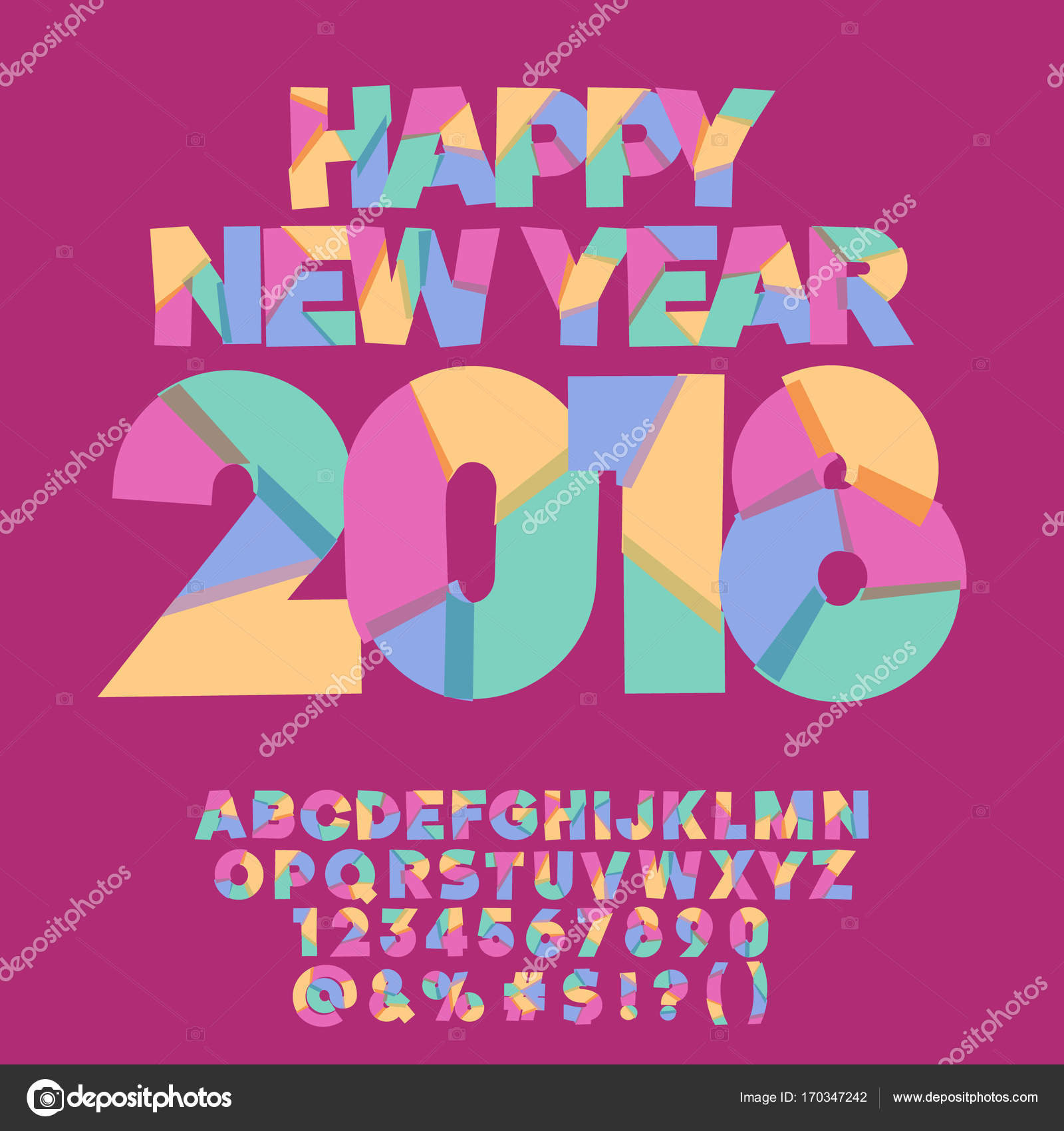 Vector Happy New Year 2018 Greeting Card For Children Creative