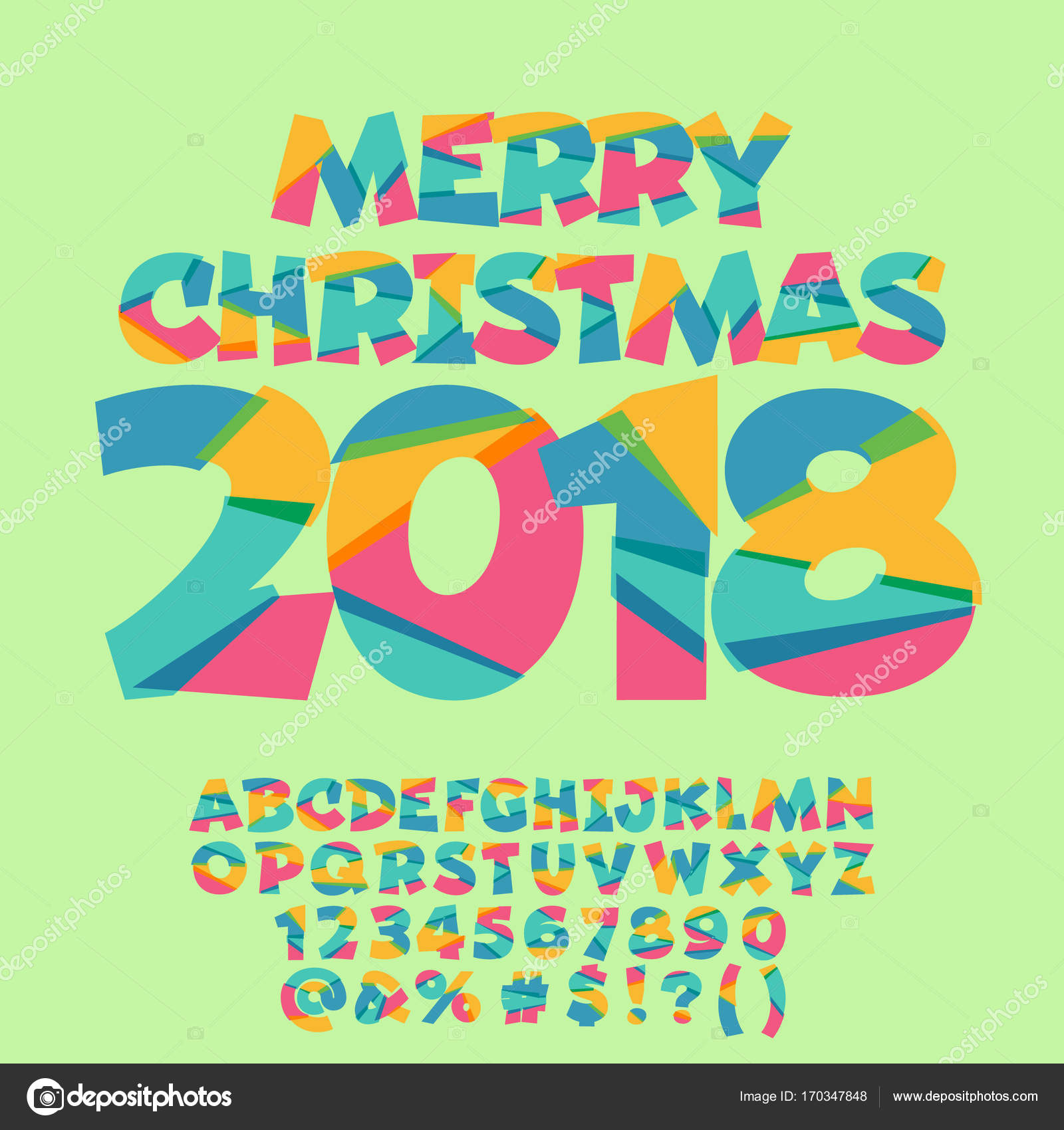 Vector Merry Christmas Greeting Card For Kids Bright Alphabet