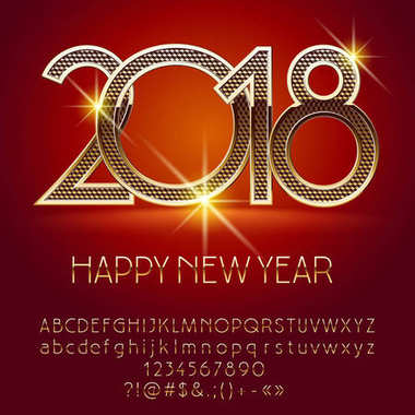 Vector beautiful Happy New Year 2018 greeting card with Alphabet set of Letters, Symbols and Numbers. Golden Font contains Graphic Style
