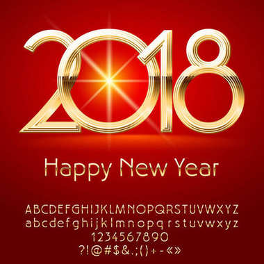 Vector exclusive Happy New Year 2018 greeting card with Alphabet set of Letters, Symbols and Numbers. Golden Font contains Graphic Style