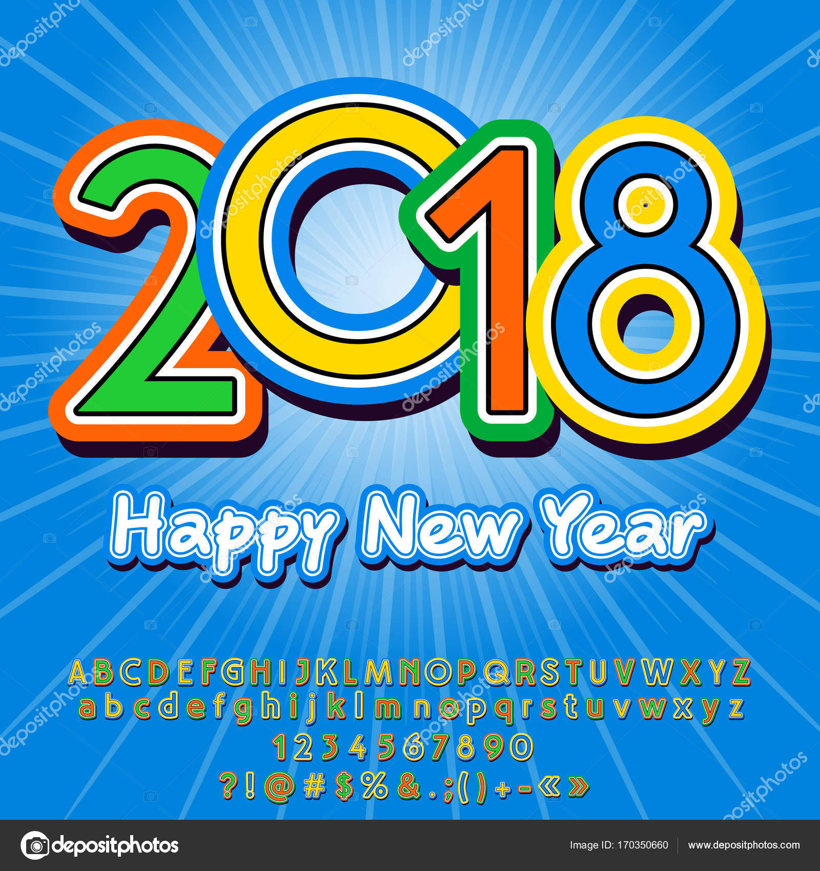 Vector Funny Happy New Year  Greeting Card For Children