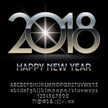 Vector silver glossy Happy New Year 2018 greeting card with set of letters, symbols and numbers. Chrome Font contains Graphic Style