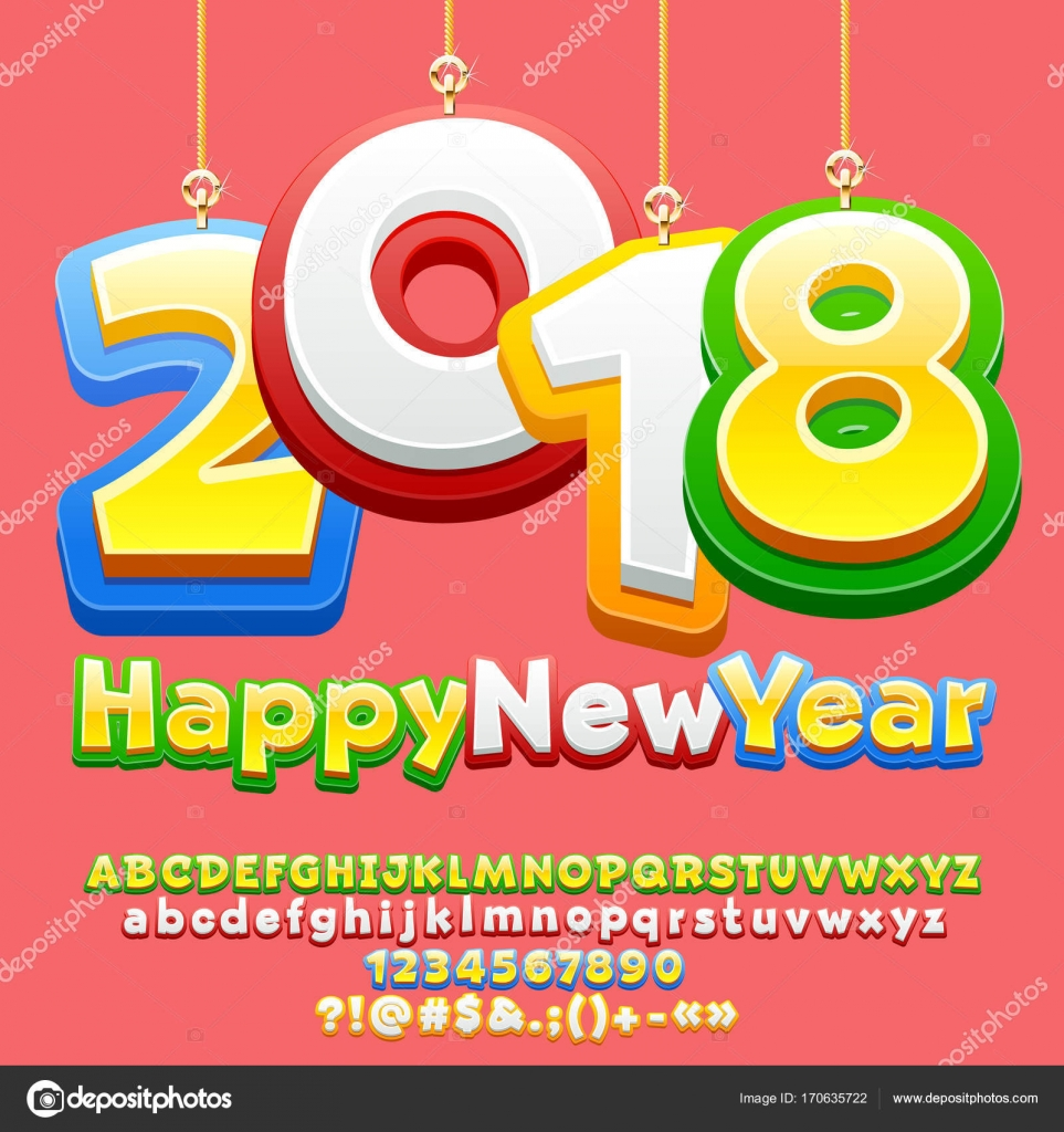 Vector Happy New Year  Greeting Card For Children With Cute