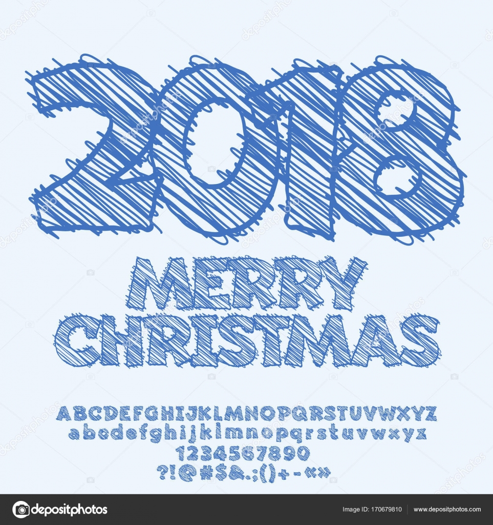 Vector Merry Christmas Greeting Card With Scetch Drawing 2018