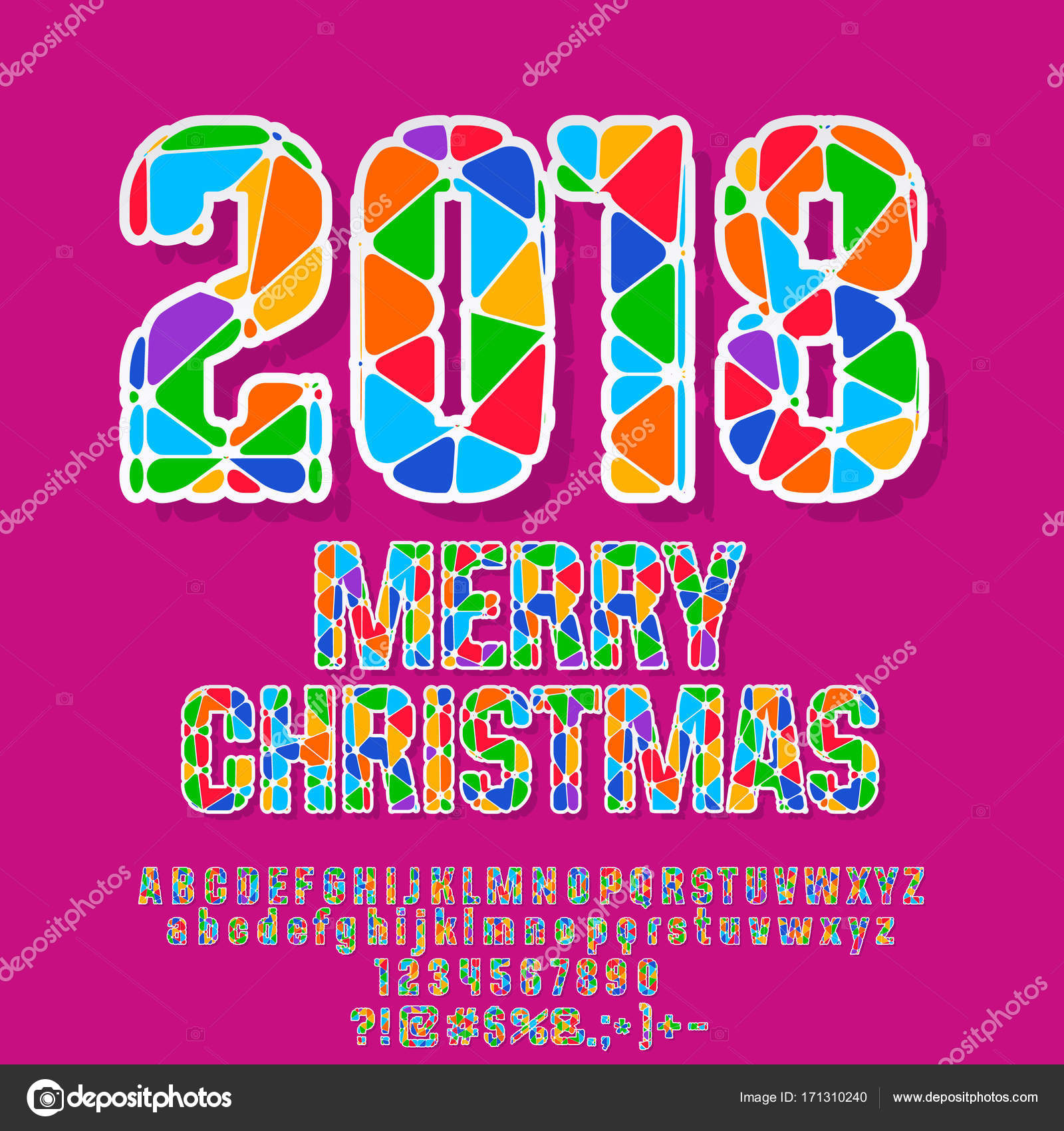 Vector colorful Merry Christmas 2018 Greeting Card. Bright Alphabet ...