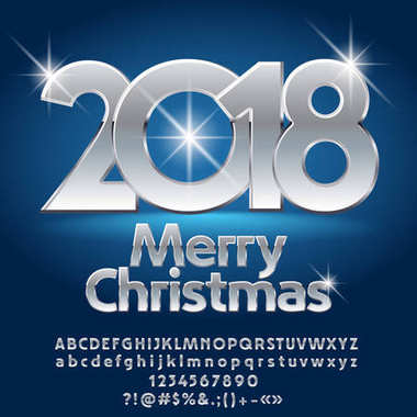 Vector luxury Merry Christmas greeting card with set of letters, symbols and numbers. Silver Font contains Graphic Style