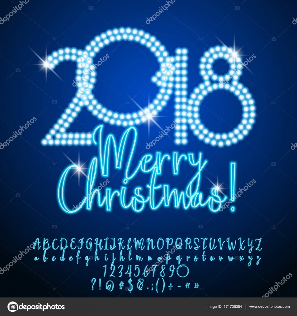Vector Greeting Card Merry Christmas 2018 Neon Banner For Casino