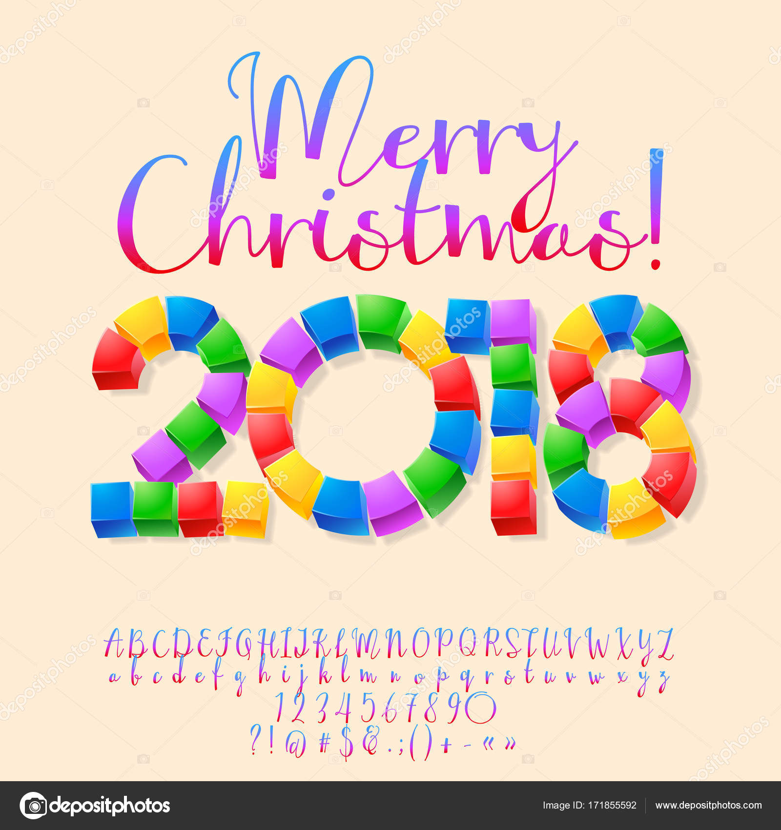 Vector funny Cube Merry Christmas 2018 Greeting Card for Children