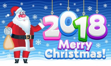 Colorful greeting card Merry Christmas 2018 with funny vector Santa Claus for Children.