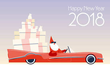 Modern Happy New Year 2018 greeting card with vector stylish Santa Claus driving cabriolet with gifts.