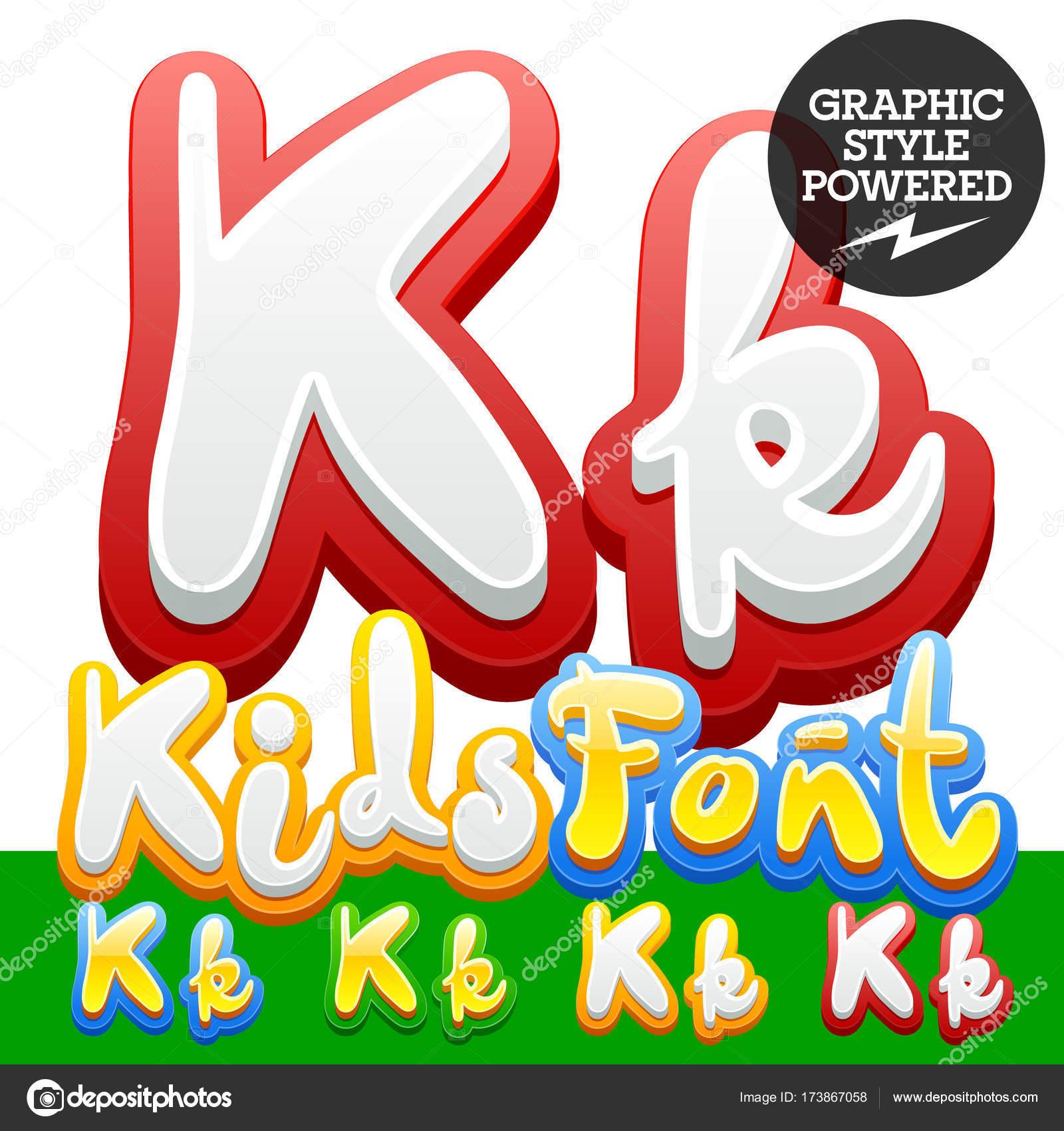 Vector Hand Written Funny Alphabet Set Of Sticker Children Font
