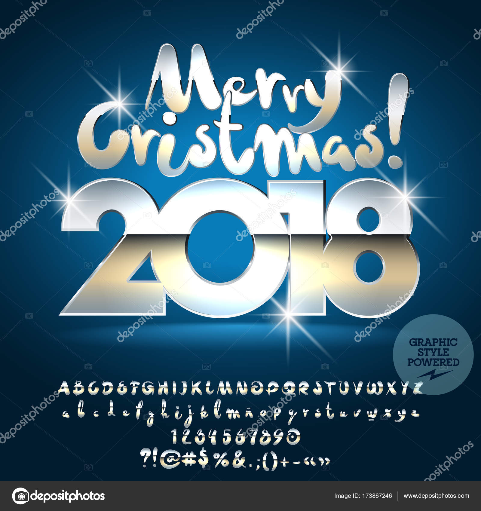 Vector unique Merry Christmas 2018 greeting card with set of letters ...