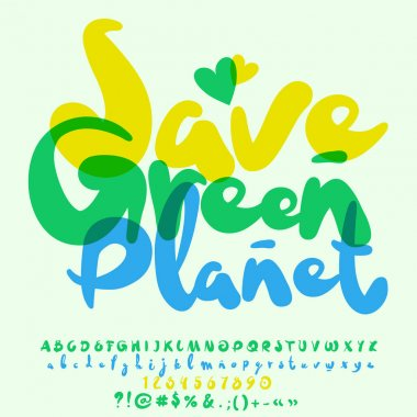 Vector eco logo Save Green Planet. Vector set of bright watercolor Letters, Numbers and Symbols
