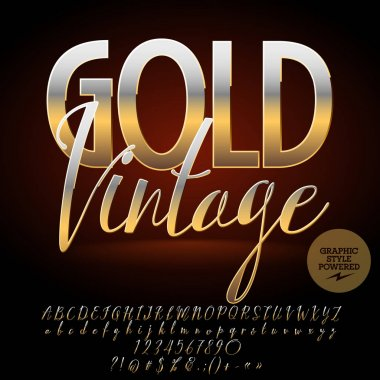 Vector Luxury emblem Gold Vintage. Chic Alphabet letters, Numbers and Punctuation Symbols. Golden Font with Graphic style