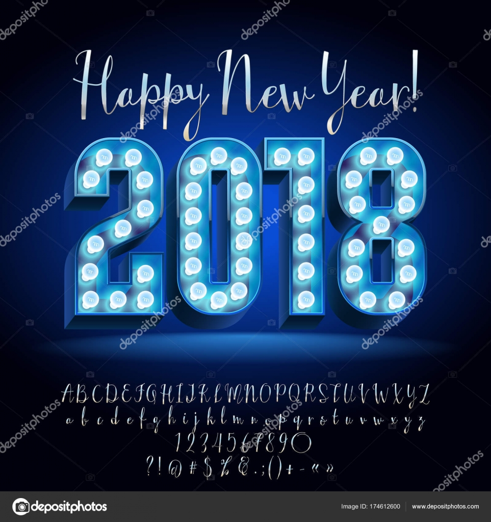 Vector Light Up Happy New Year 2018 Greeting Card With Silver