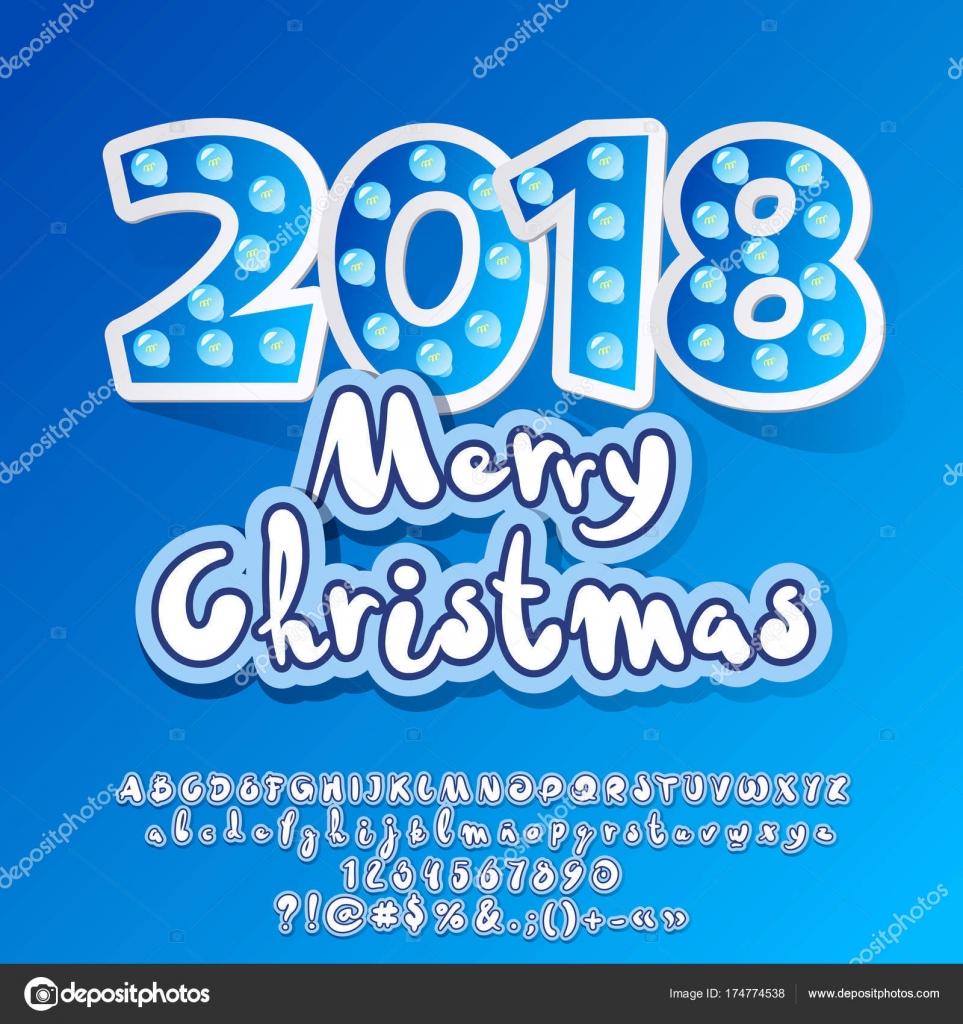 Vector Children Light Merry Christmas 2018 Greeting Card Set Letters