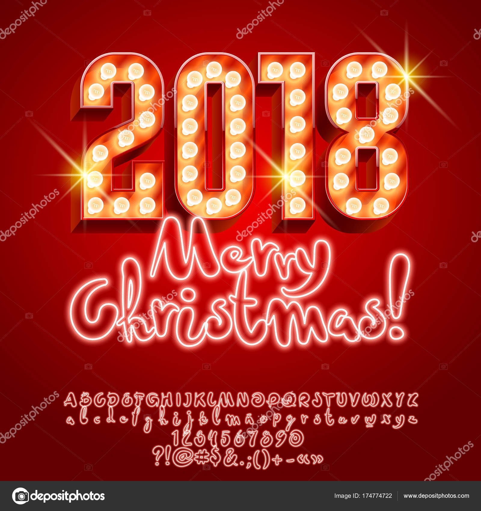 Vector Light Merry Christmas 2018 Greeting Card Neon Alphabet Set