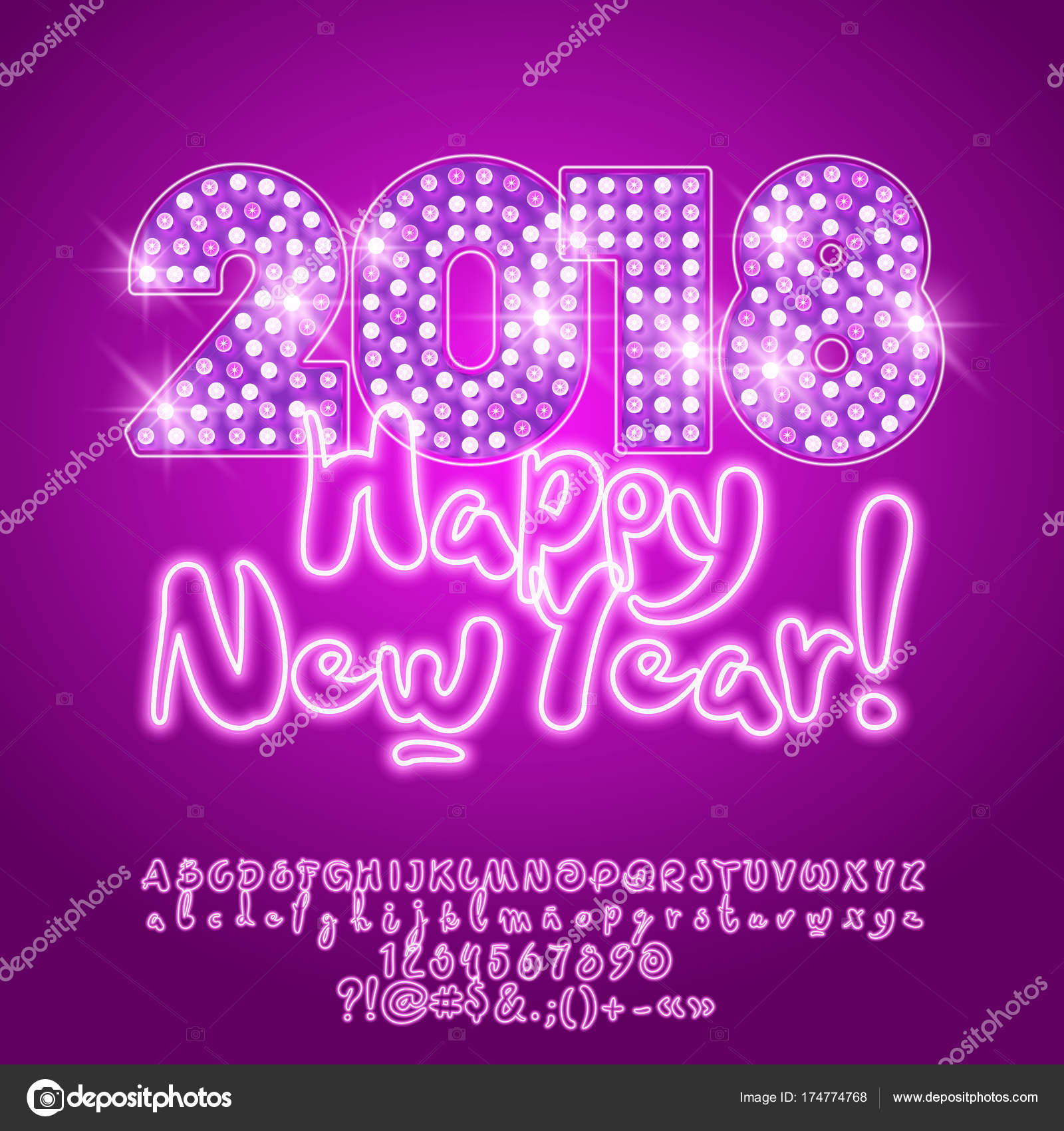 Vector light disco happy new year 2018 greeting card neon stock vector light up disco happy new year 2018 greeting card with neon alphabet set of letters symbols and numbers vector by dgbomb m4hsunfo