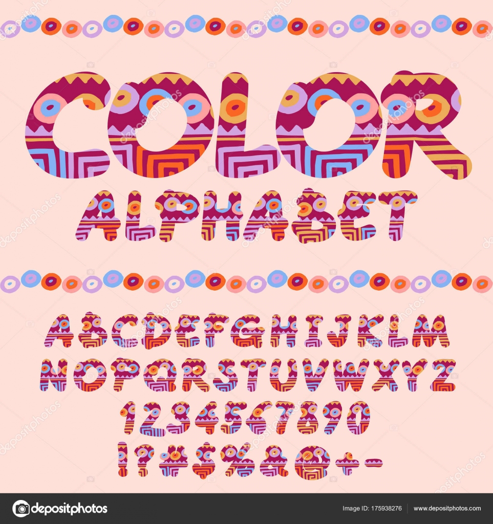 Vector Indie Style Bright Pattern Alphabet Set Colorful Letters ...