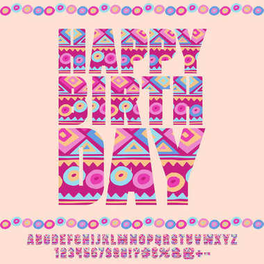 Children Happy Birthday Greeting Card. Vector set of multicolor Letters, Numbers and Symbols