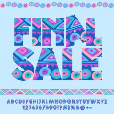 Vector cute blue original pattern logo Final sale. Set of motley Alphabet letters, Numbers and Symbols