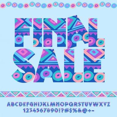 Vector cute blue original pattern logo Final sale. Set of motley Alphabet letters, Numbers and Symbols