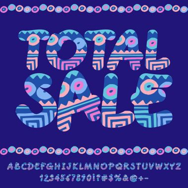 Vector indie style pattern banner Total sale. Set of handwritten Alphabet letters, Numbers and Symbols