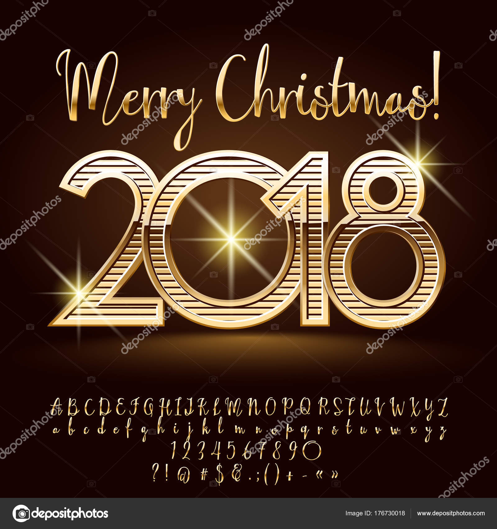Auguri Di Buon Natale Eleganti.Ricco Splendente Cartolina Auguri Buon Natale Elegante Set Dorato