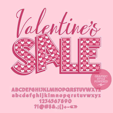 Vector promo poster Saint Valentine's day Sale. Set of pink retro Alphabet letters, Numbers and Symbols with heart patten. File contains Graphic Styles