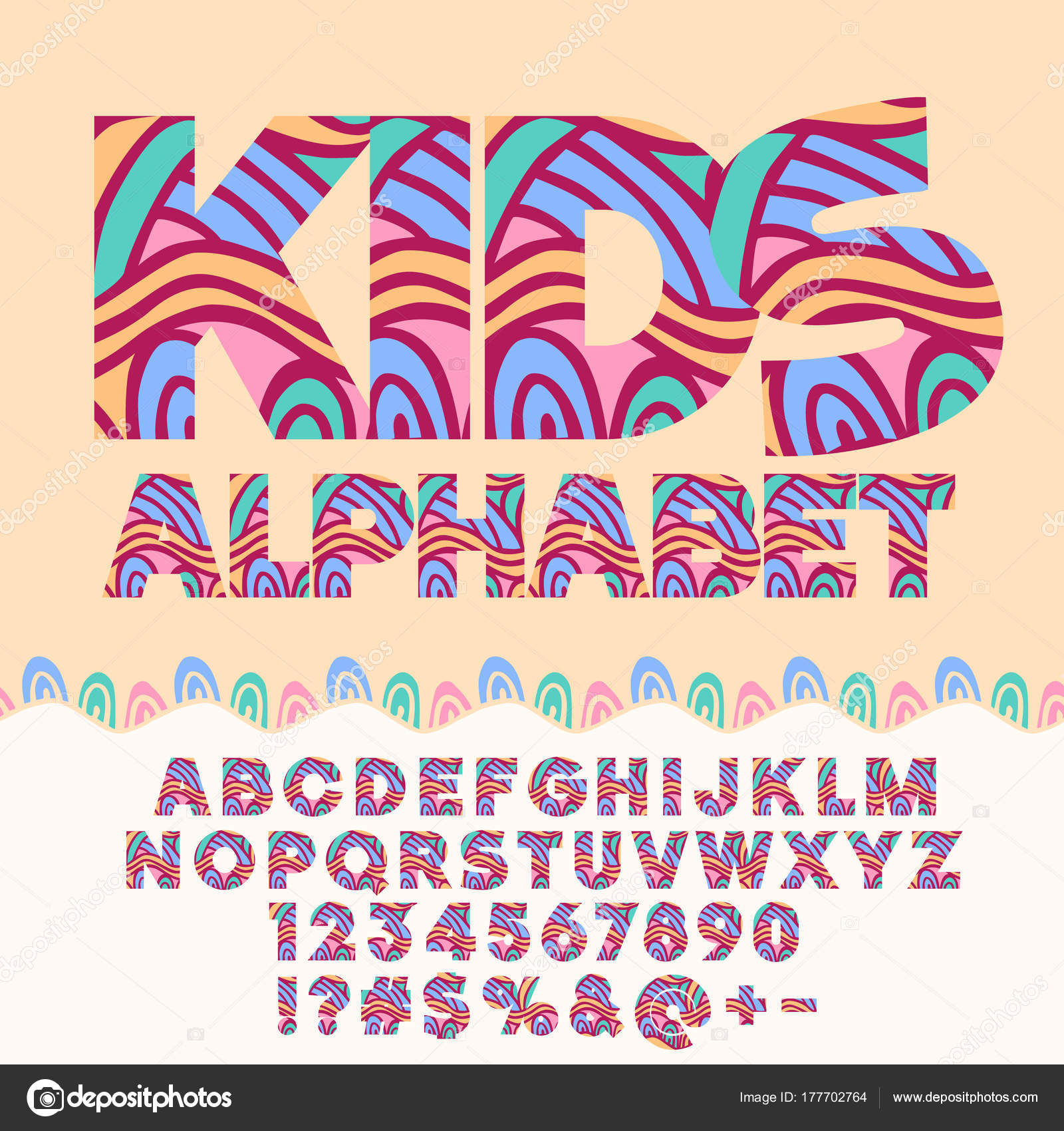Children Bright Motley Pattern Alphabet Set Colorful Letters Numbers ...