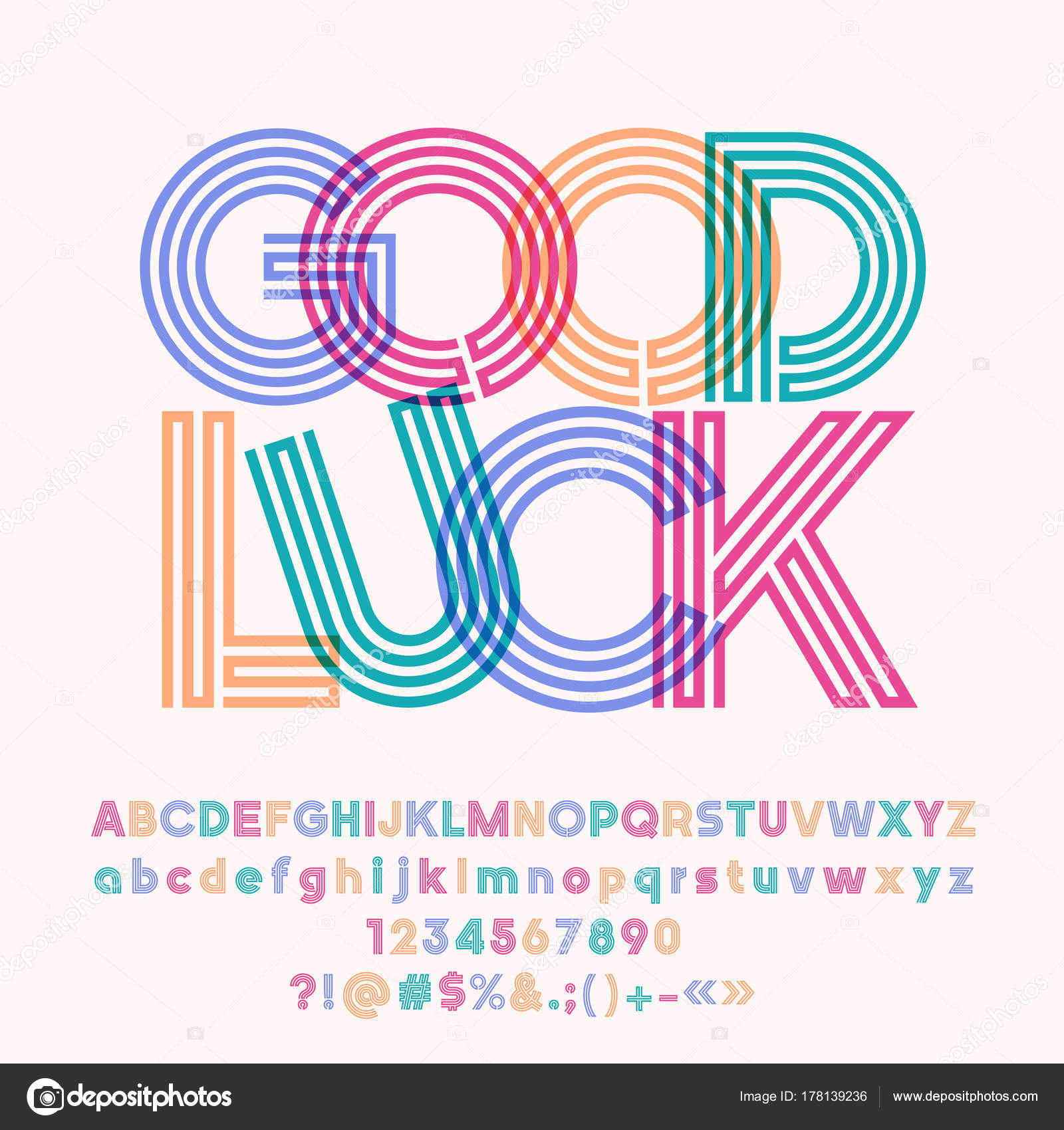 Vector Colorful Poster Good Luck Set Cool Tube Alphabet Letters