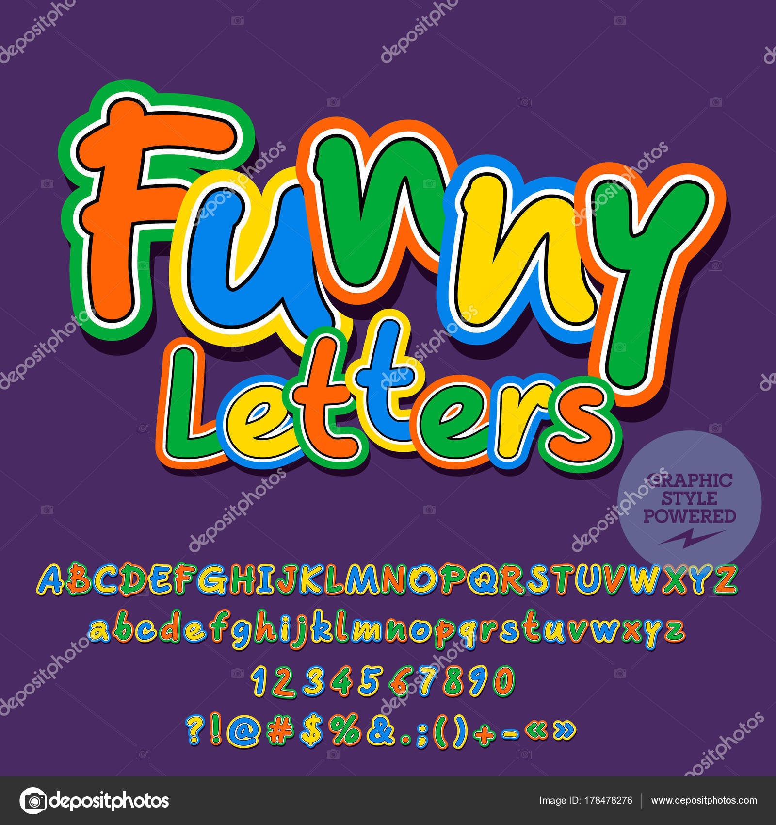 Vector Childish Set Of Alphabet With Playful Text Funny Letters Cute Font Contains Graphic Style By Dgbomb