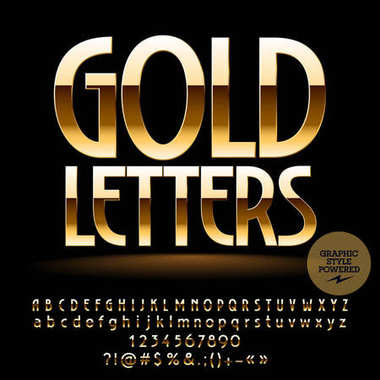 Vector set of deluxe Gold Alphabet Letters, Numbers and Punctuation Symbols. Elite Font with Graphic style