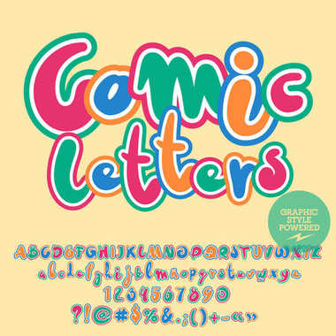 Vector childish set of Alphabet with playful text Comic Letters. Colorful Font contains Graphic style