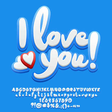 Vector cute blue card I love you with hearts. Set of Alphabet letters, Numbers and Punctuation Symbols