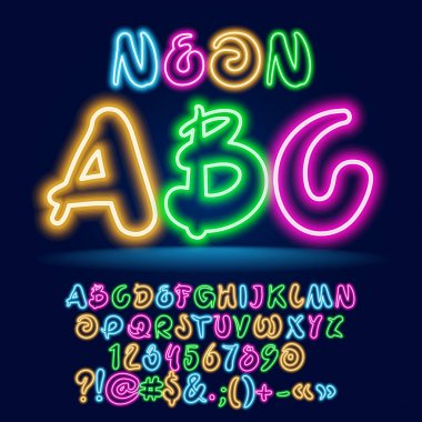 Vector Colorful Neon Children set of ABC letters. Light Set of bright playful Alphabet Letters, Numbers and Symbols