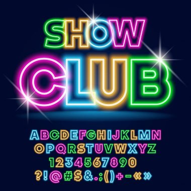 Vector bright Neon poster Show Club with Sparkling Stars. Set of Colorful Glowing Alphabet Letters, Numbers and Symbols