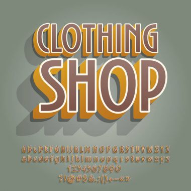 Creative vector alphabet set. Font with text Clothing Shop.