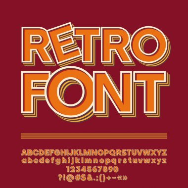 Vector Elegant Retro style Alphabet. Set of Letters, Numbers and Symbols