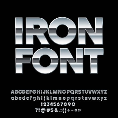 Vector Iron Alphabet. Set of massive Chrome Letters, Numbers and Symbols