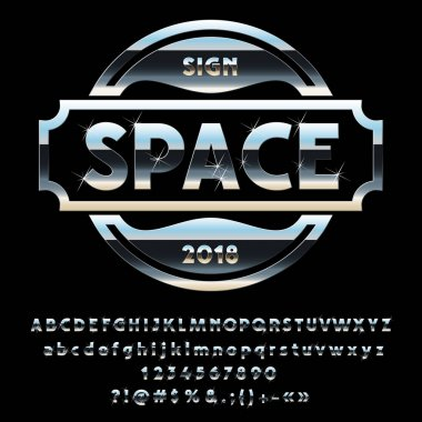 Vector Metallic Silver Logotype Space with sparkling stars. Set of Alphabet Letters, Numbers and Symbols