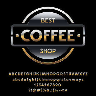 Vector glossy Silver and Golden logotype Best Coffee Shop. Set of chic exclusive Alphabet Letters, Numbers and Symbols