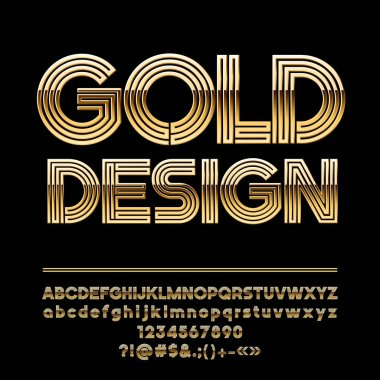 Vector abstract Golden Artistic Design Alphabet. Set of Chic geometric shape Letters, Numbers and Symbols