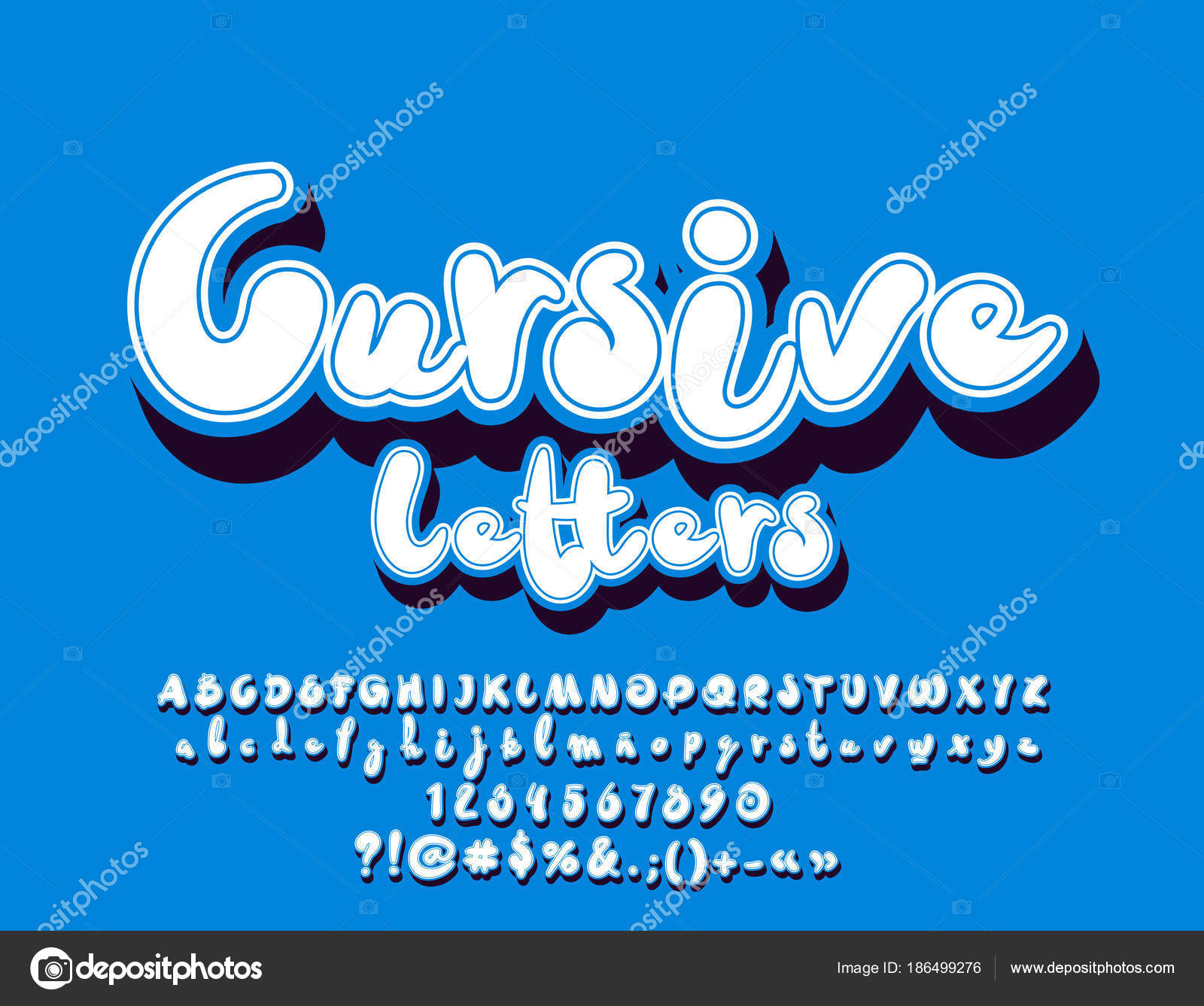 Vector Minimalistic White Cursive Letters Shadow Set Cool Modern