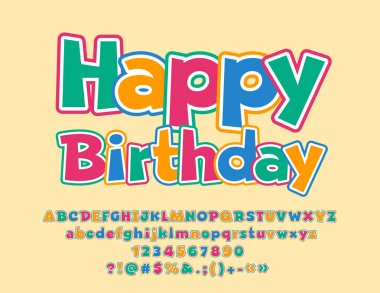 Vector Greeting Card Happy Birthday for Kids. Set of Colorful Alphabet Letters, Numbers and Symbols