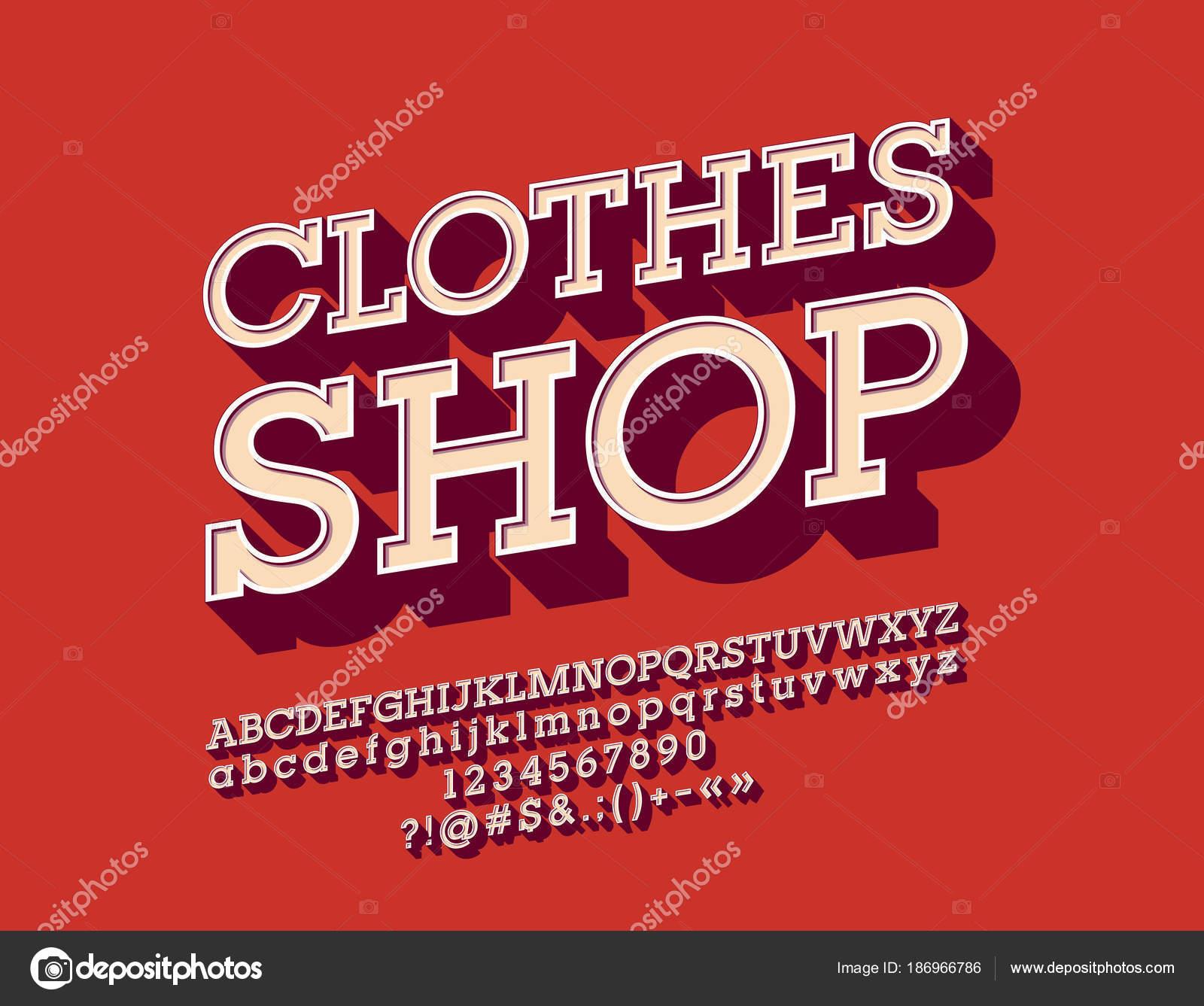 Vector Cool Angled Alphabet Logotype Clothes Shop Set Vintage